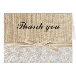 Rustic Burlap Lace Ivory Ribbon Thank You Greeting Card