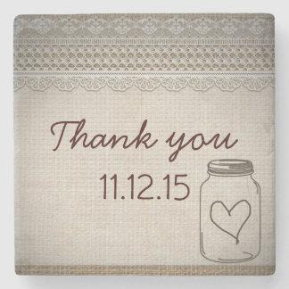 Rustic Burlap Lace Mason Jar Heart Thank You Stone Coaster