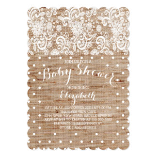 Rustic Burlap Lace Neutral Baby Shower Invitation