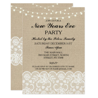 Rustic Burlap Lace New Years Day Eve Invite