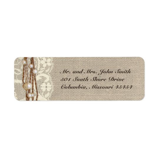 Rustic Burlap Lace Pearls Return Address Label
