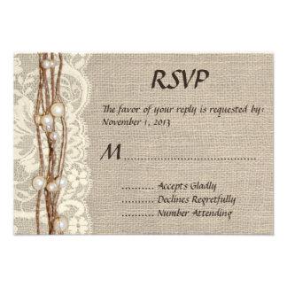 Rustic Burlap Lace Pearls Wedding Invitation