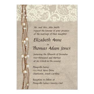 "Rustic Burlap Lace Pearls Wedding Invitation 5"" X 7"" Invitation Card"