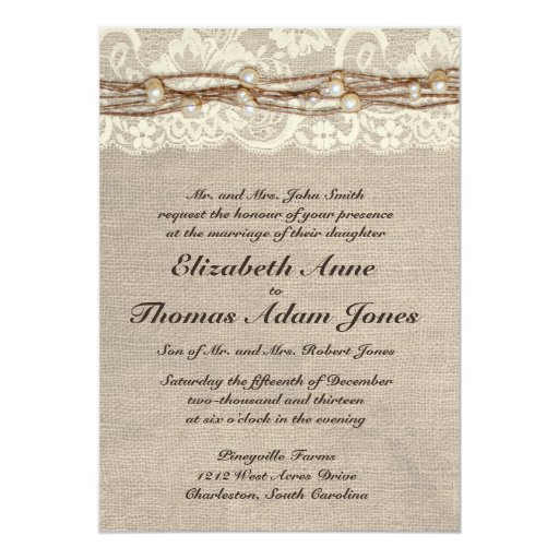 Pearl And Lace Wedding Invitations: Rustic Burlap Lace Pearls Wedding Invitation
