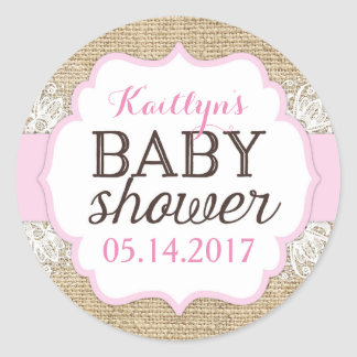 Rustic Burlap Lace Pink Girl Baby Shower Round Sticker