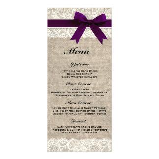 Rustic Burlap & Lace Plum Wedding Menu Custom Rack Card