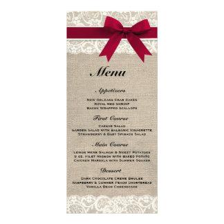 Rustic Burlap Lace Red Wedding Menu Rack Card