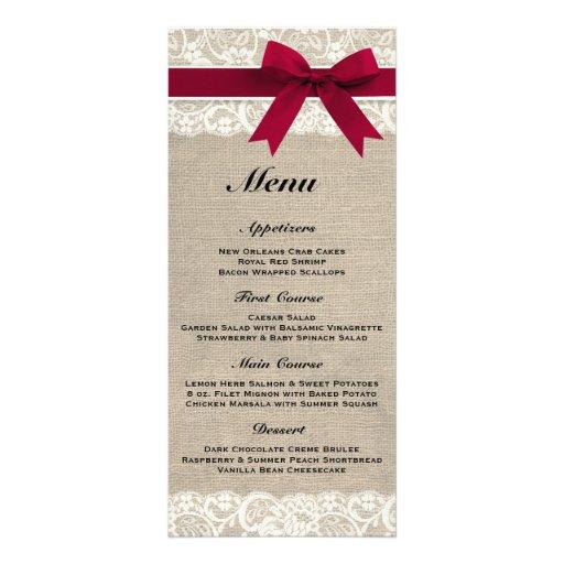Rustic Burlap & Lace Red Wedding Menu Rack Card