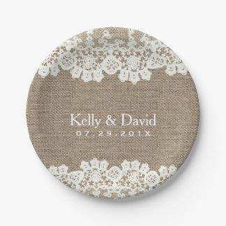 Rustic Burlap & Lace Vintage Wedding 7 Inch Paper Plate