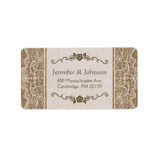 Rustic Burlap Lace Wedding Address Label