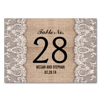 Rustic burlap lace wedding table number cards table cards