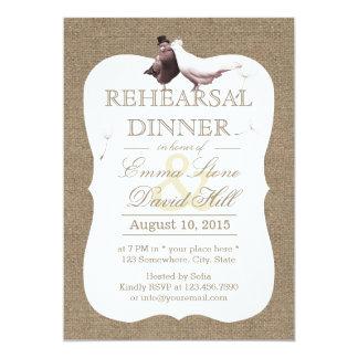 Rustic Burlap Love Birds Rehearsal Dinner 13 Cm X 18 Cm Invitation Card