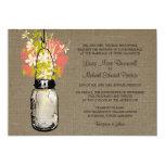 Rustic Burlap Mason Jar and Wildflowers Wedding Personalised Invitations