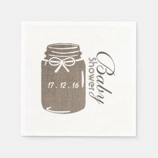 Rustic Burlap Mason Jar Baby Shower Paper Napkins