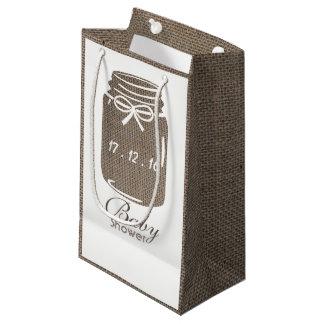 Rustic Burlap Mason Jar Baby Shower Small Gift Bag