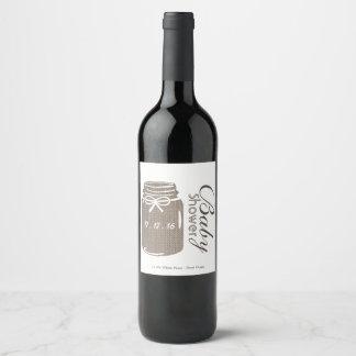 Rustic Burlap Mason Jar Baby Shower Wine Label
