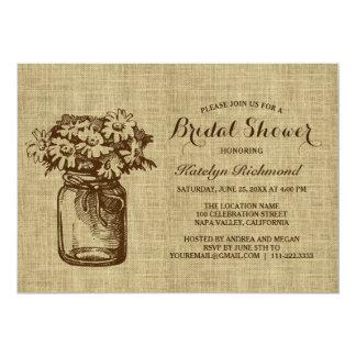Rustic Burlap Mason Jar Bridal Shower Invitations