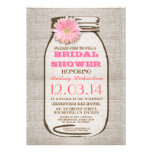 Rustic Burlap Mason Jar Pink Gerbera Bridal Shower Invite