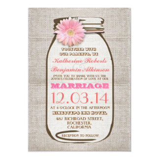 Rustic burlap mason jar pink gerbera wedding card