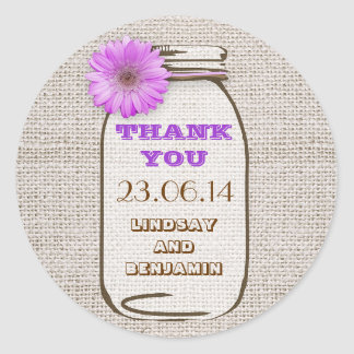 Rustic Burlap Mason Jar Purple Gerbera Wedding Classic Round Sticker