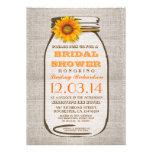 Rustic Burlap Mason Jar Sunflower Bridal Shower Custom Invitation