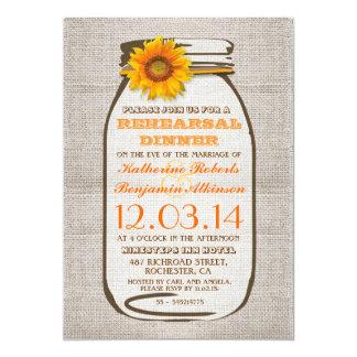 Rustic Burlap Mason Jar Sunflower Rehearsal Dinner Card