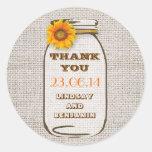 Rustic Burlap Mason Jar Wedding Sunflower Round Sticker