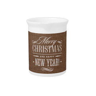 Rustic Burlap Merry Christmas Decor Pitcher