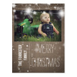 Rustic Burlap Merry Christmas Stars Family Photo