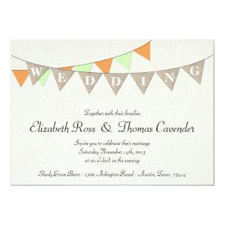 Rustic Burlap Mint Pennant Wedding Invitation