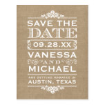 Rustic Burlap Modern Vintage Save the Date Postcards