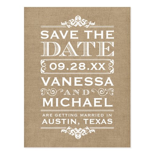 Rustic Burlap Modern Vintage Save the Date Postcards