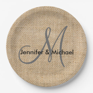 Rustic Burlap Monogram Wedding Bride Groom Names Paper Plate