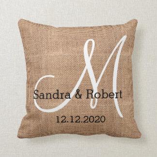 Rustic Burlap Monogram Wedding Keepsake Cushion