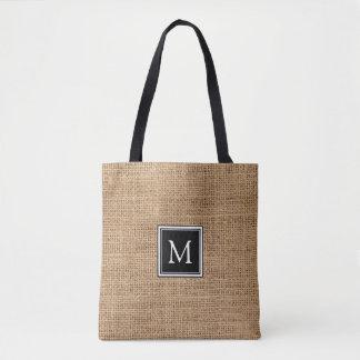Rustic burlap personalized black monogram tote bag