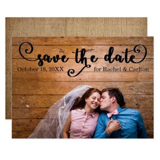 Rustic Burlap Photo - 3x5 Save the date Card