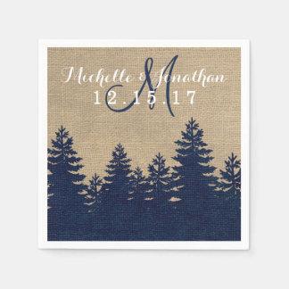 Rustic Burlap Pine Trees Winter Wedding Napkin Paper Napkin