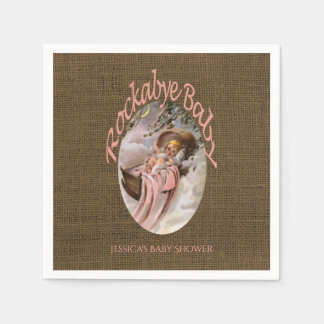 Rustic Burlap Pink Brown | Custom Girl Baby Shower Paper Napkins
