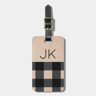 Rustic Burlap Plaid - Monogrammed - Gift for Him Luggage Tag