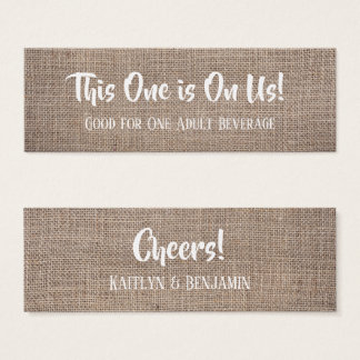 Rustic Burlap & Pretty White Text, Drink Tickets