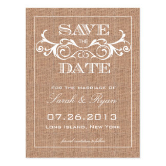 Rustic Burlap Print Save the Date Announcement Postcard