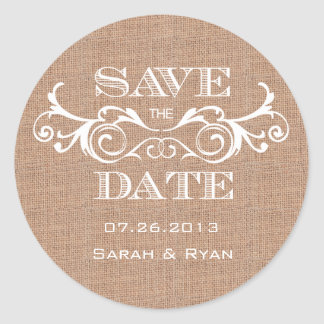 Rustic Burlap Print Save the Date Sticker