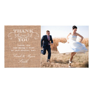Rustic Burlap Print Wedding Photo Thank You Cards Photo Card Template