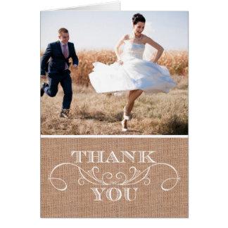 Rustic Burlap Print Wedding Thank You Cards