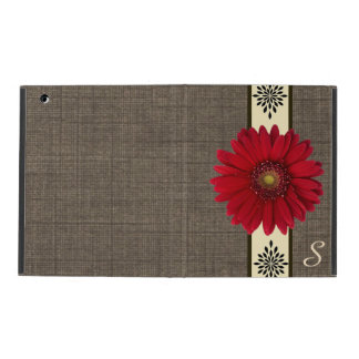 Rustic Burlap Red Daisy Monogram iPad Case