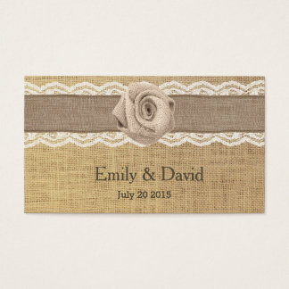 Rustic Burlap Rose Wedding Website Insert Cards