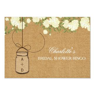 Rustic Burlap Roses bridal shower bingo cards