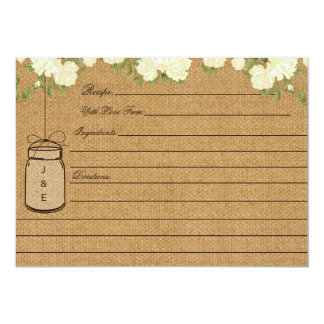 Rustic Burlap Roses bridal shower recipe cards