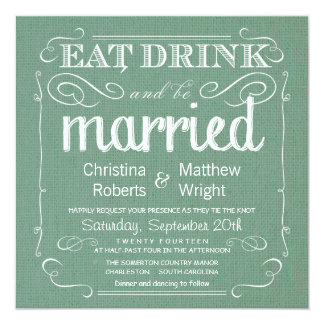 Rustic Burlap Sage Green Wedding Invitations
