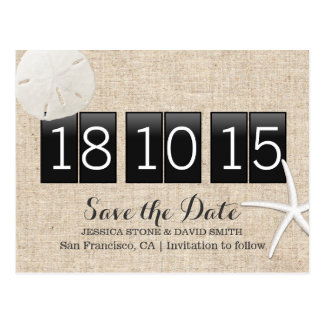 Rustic Burlap Sand Dollar & Starfish Save the Date Postcard